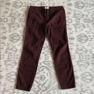 J.Crew Burgundy Ankle Slim Line Pant, size 28